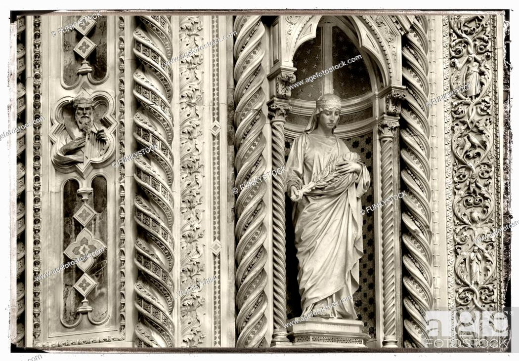 Stock Photo: The Dome Catheral - Statue Of Saint Mary Of The Flowers - Florence Italy.