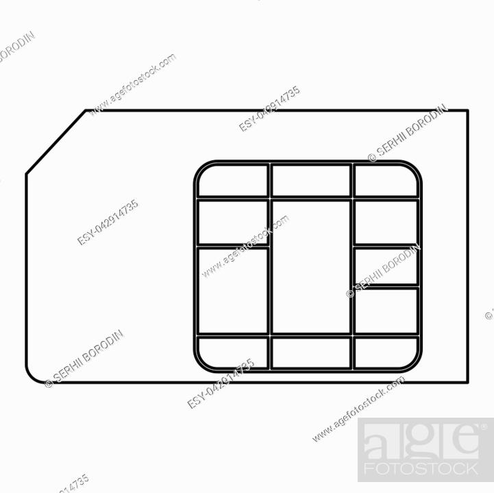 Stock Vector: Sim card it is the black color icon .