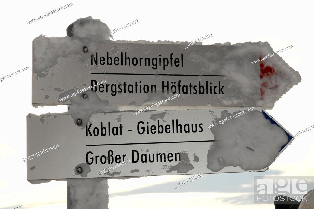 Stock Photo: Signpost at the Nebelhorn summit, 2224m, Nebelhorn, Oberstdorf, Oberallgaeu district, Bavaria, Germany, Europe.