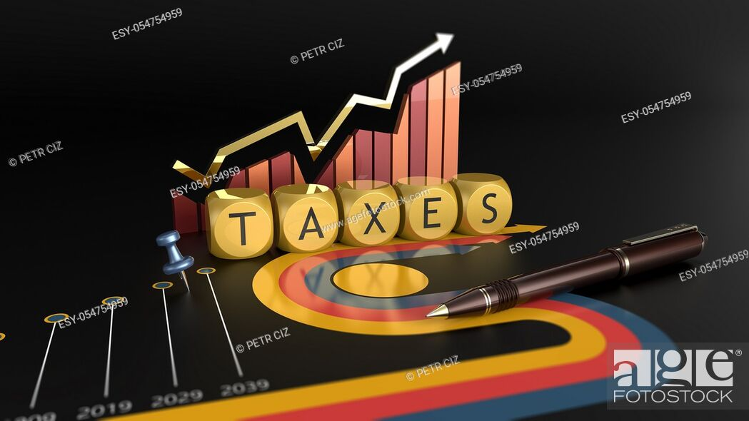 Stock Photo: Tax reform and economic charts. Time to pay taxes.