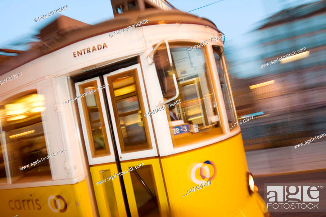 Stock Photo: Tram at night. Lisbon. Portugal.