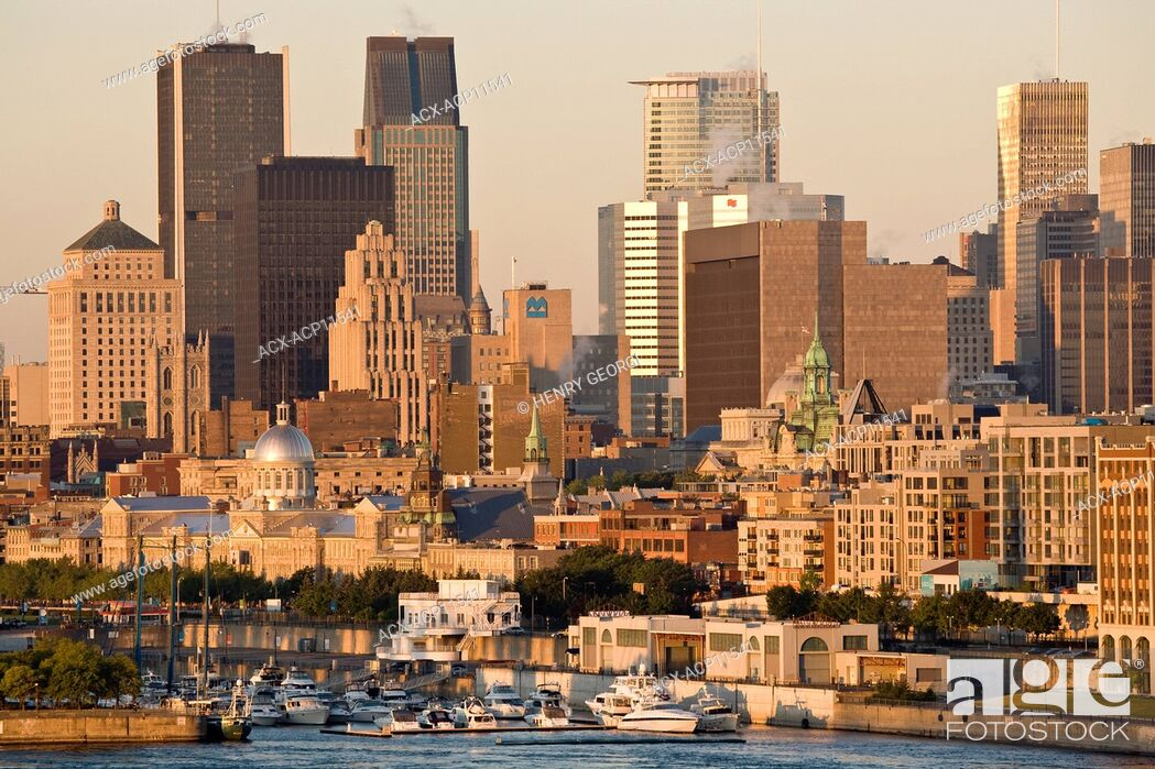 Stock Photo: View of Montreal at sunrise from Ile Sainte-Helene, Montreal, Quebec, Canada.