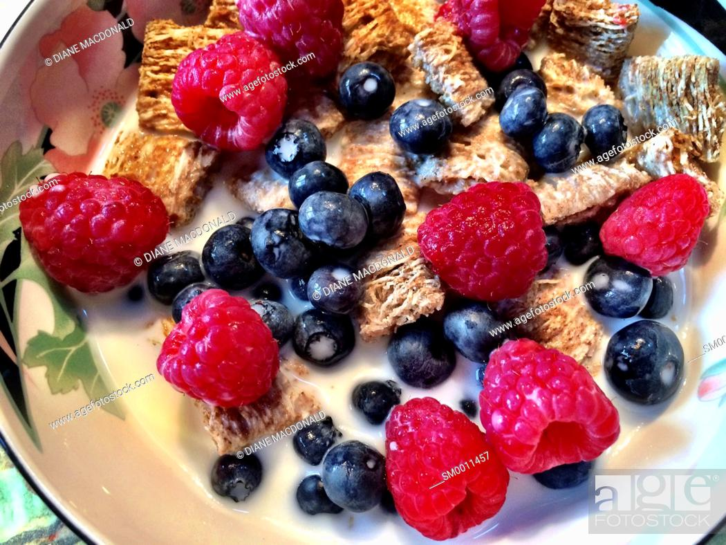 Stock Photo: A bowl of whole grain cereal squares with raspberries and blueberries.