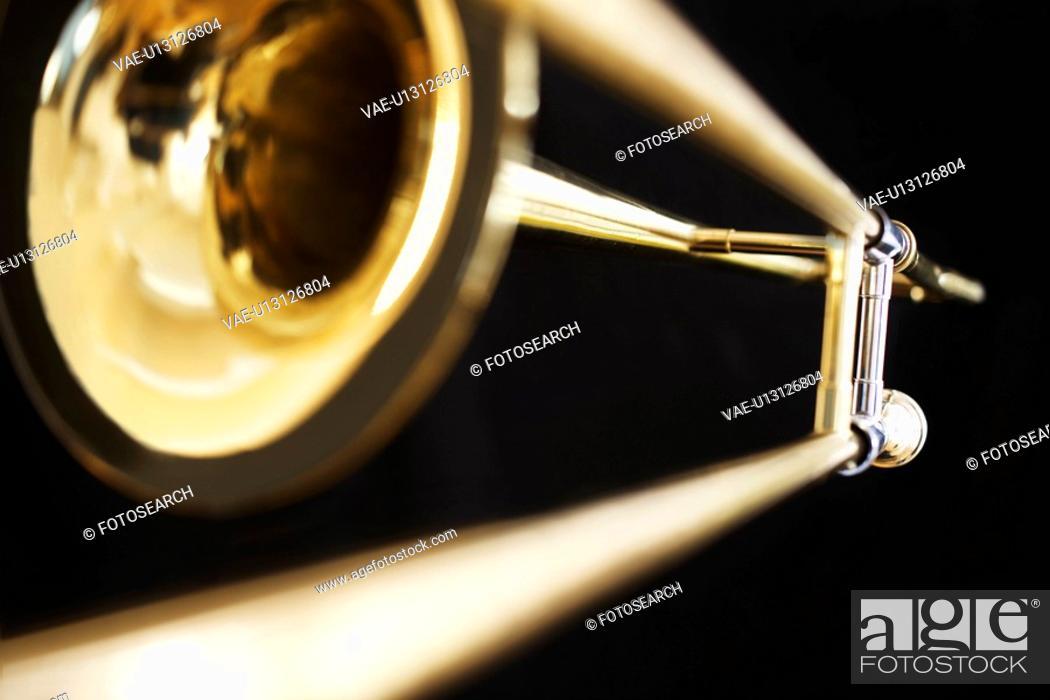 Stock Photo: Single trombone close-up.
