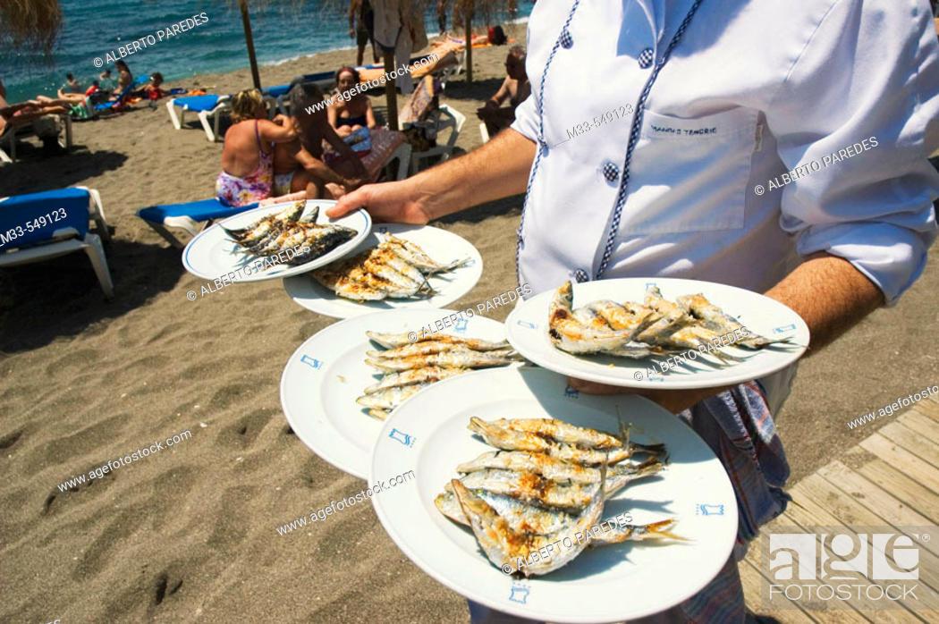 Stock Photo: Sardines. Restaurante Beach Club El Fuerte. Playa de Venus. Marbella. Andalucia. Spain.