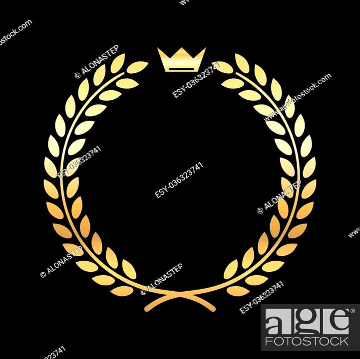 Vector: Gold laurel wreath, with crown. Golden leaf emblem. Vintage design, isolated on black background. Decoration for insignia, banner award.