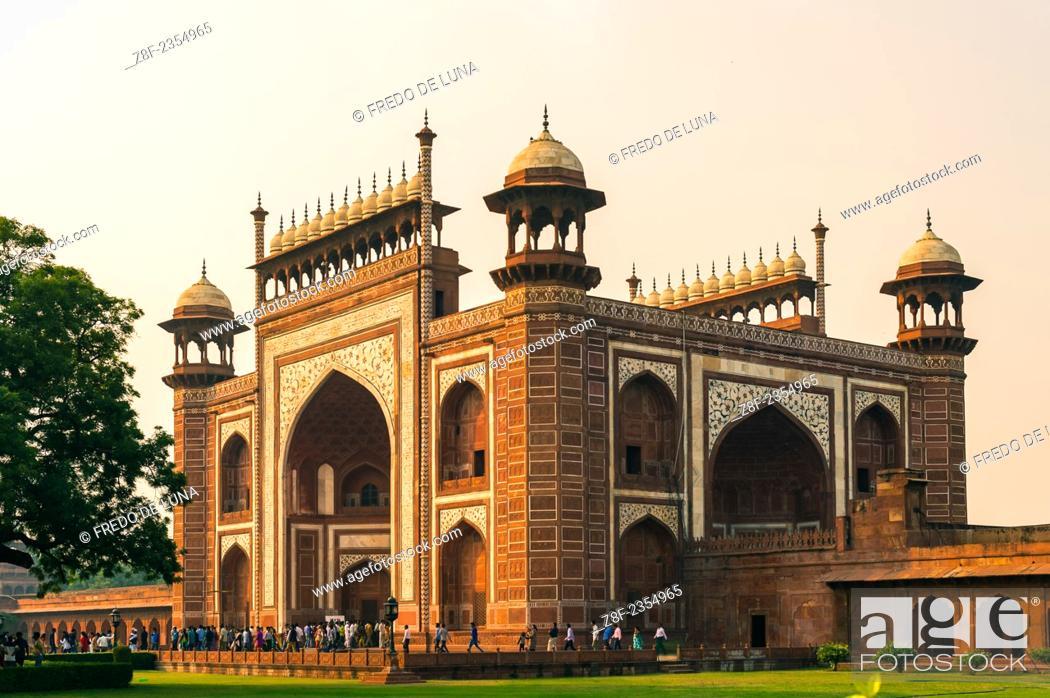 Stock Photo: The main gate to Taj Mahal, Darwaza.