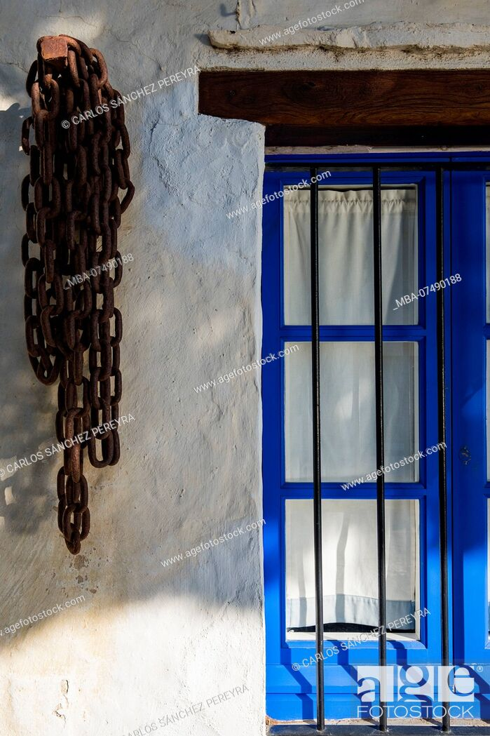 Stock Photo: Detail of a mediterranean style house in the village of Portlligat in the nature reserve of Cap de Creus north of the Costa Brava in the province of Gerona in.