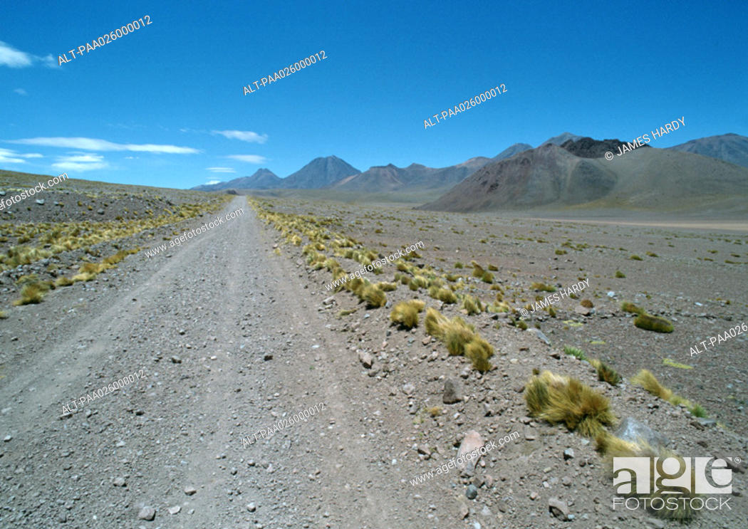 Stock Photo: Chile, Antofagasta, gravel road through arid landscape, mountains in background.