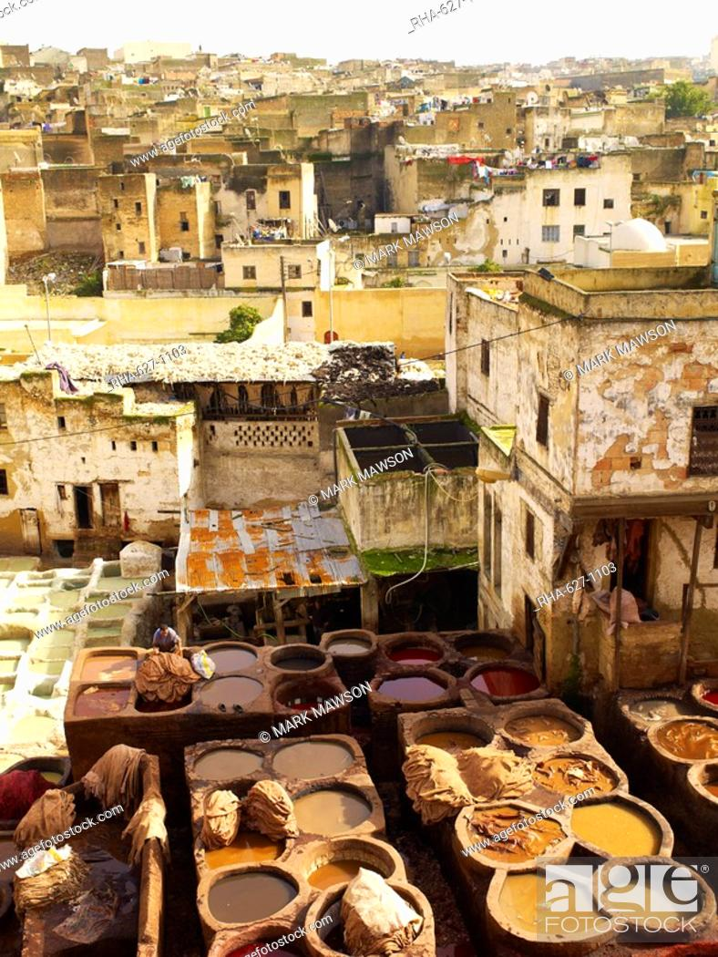 Stock Photo: Tannery, Fez, Morocco, North Africa, Africa.
