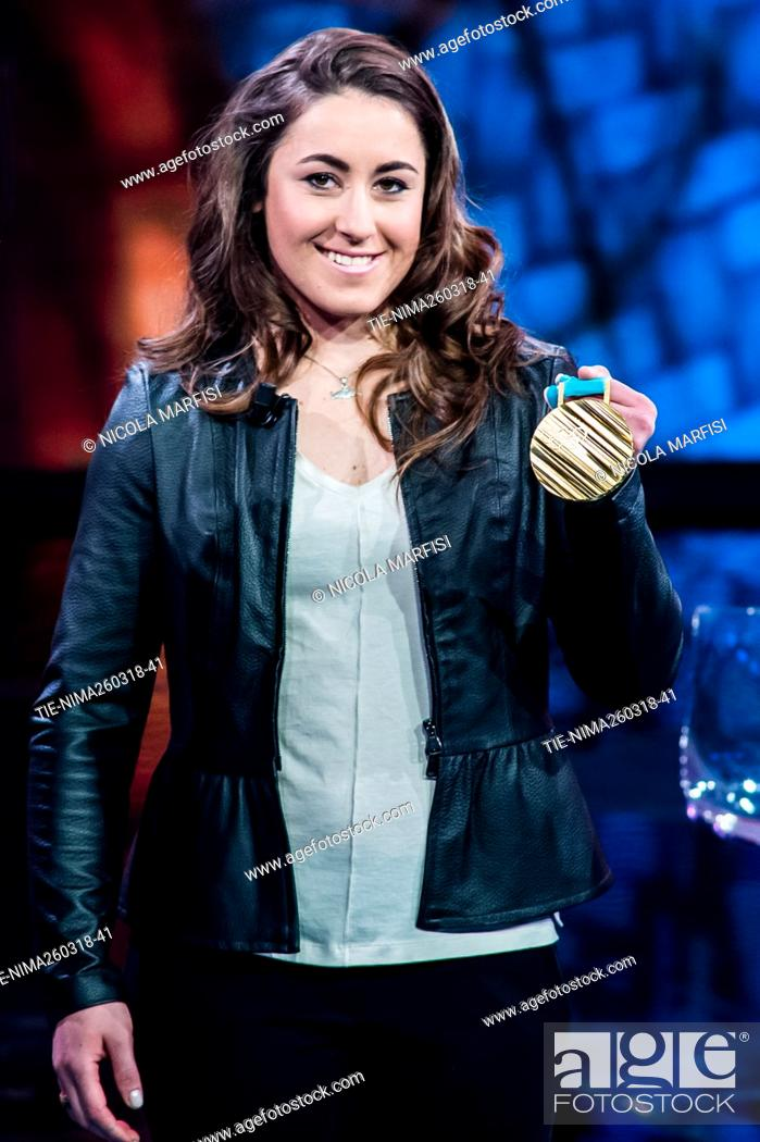 Imagen: Sofia Goggia, Olympic champion skier and world cup winner during the tv show Che tempo che fa, Milan, ITALY-25-03-2018.