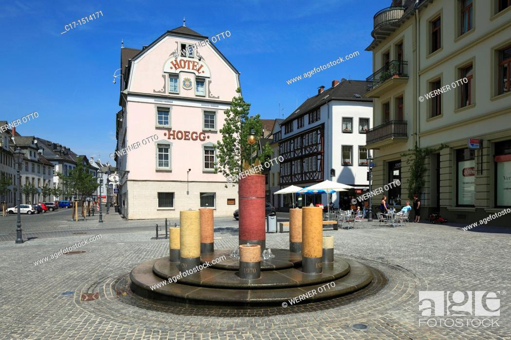 Stock Photo: Germany, Koblenz, Rhine, Moselle, Maifeld, Eifel, Hunsrueck, Westerwald, Rhineland-Palatinate, Koblenz-Ehrenbreitstein, Kapuzinerplatz, Capuchin Square.