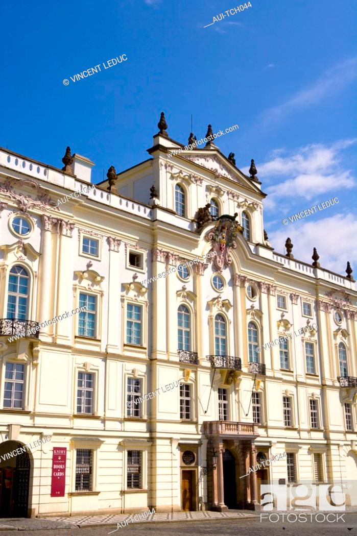 Stock Photo: Czech Republic - Prague - Hradcany Prague 1 District - Hradcanské Square - Archiepiscopal Palace.