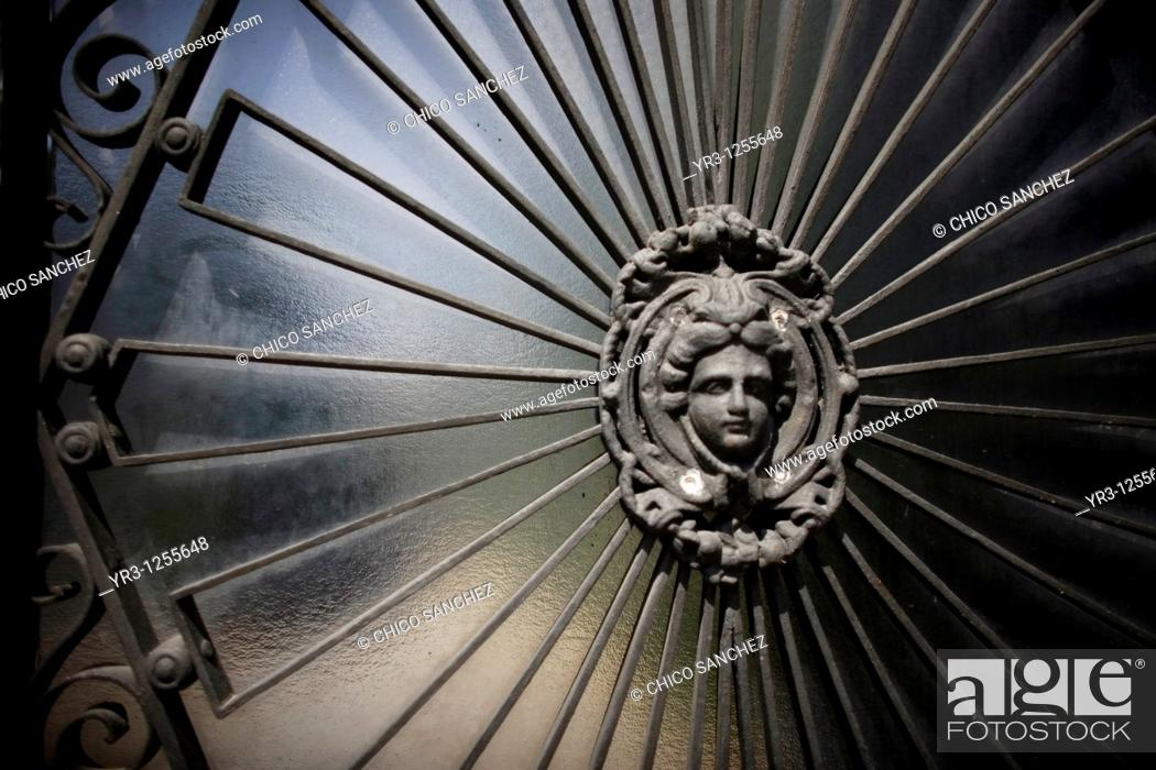 Stock Photo: The door of a home in the Albaicin neighborhood of Granada, Andalusia, Spain.