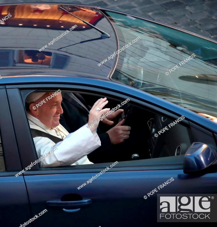 Pope Francis Wears A Seat Belt In The Car During The Act Of