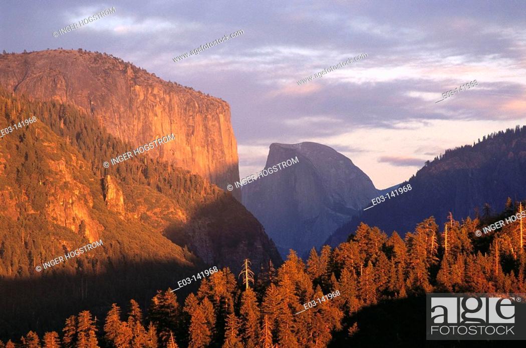 Stock Photo: El Capitan and Half Dome, Yosemite National Park. California, USA.