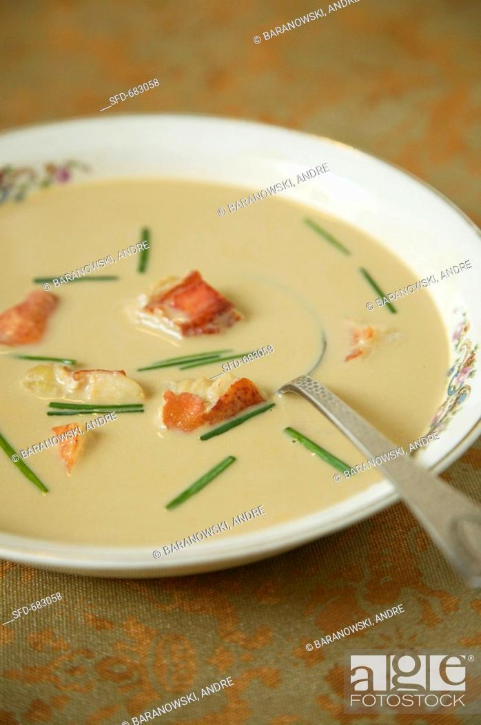 Stock Photo: Bowl of Lobster Bisque with Chives.