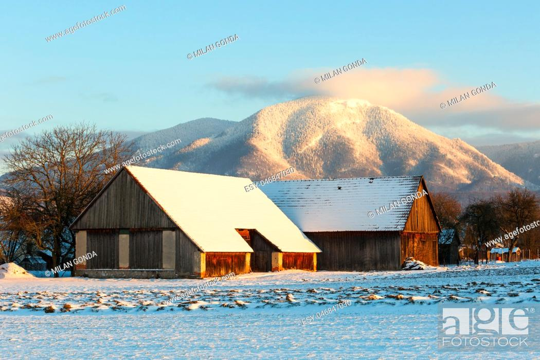 Stock Photo: Traditional barns in Turiec region in central Slovakia. .