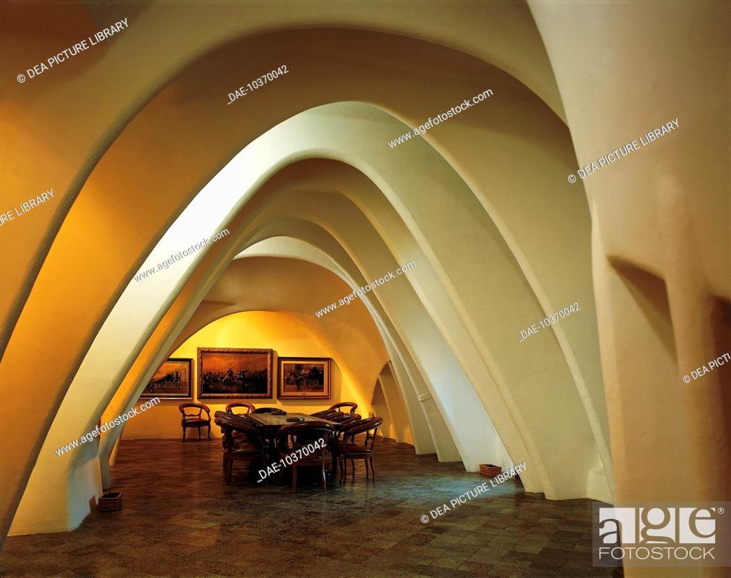 Stock Photo: Attic room with parabolic arches, Batllo House (UNESCO World Heritage List, 2005) Barcelona, by architect Antoni Gaudi. Spain, 19th century.