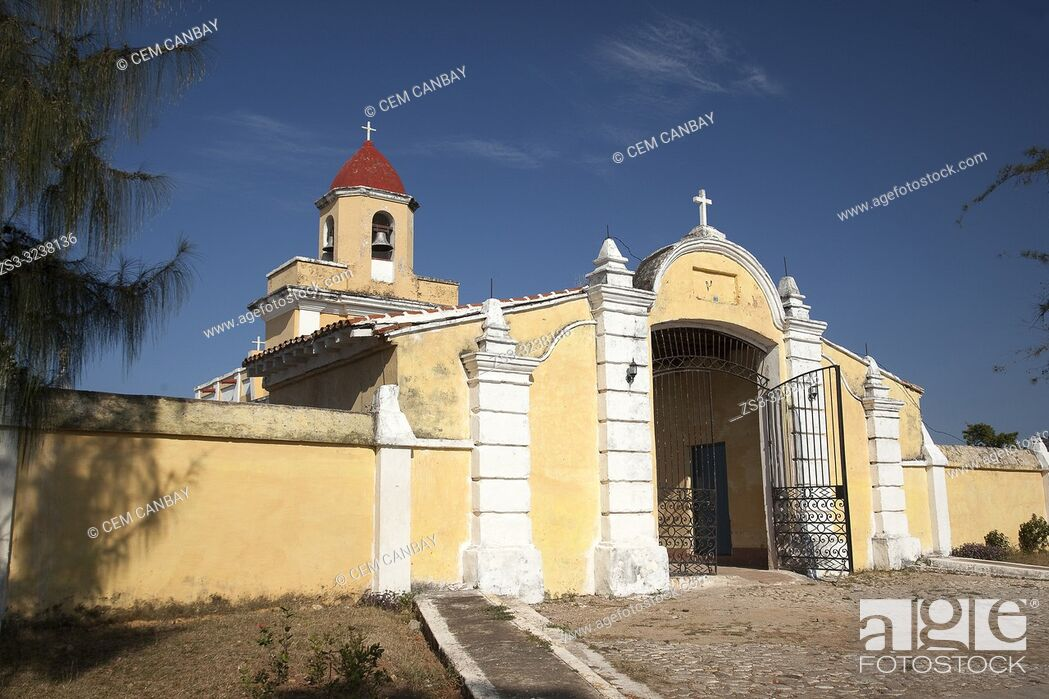 Stock Photo: View to the entrance of the cemetery in the town, Trinidad, Sancti Spiritus Province, Cuba, West Indies, Central America.