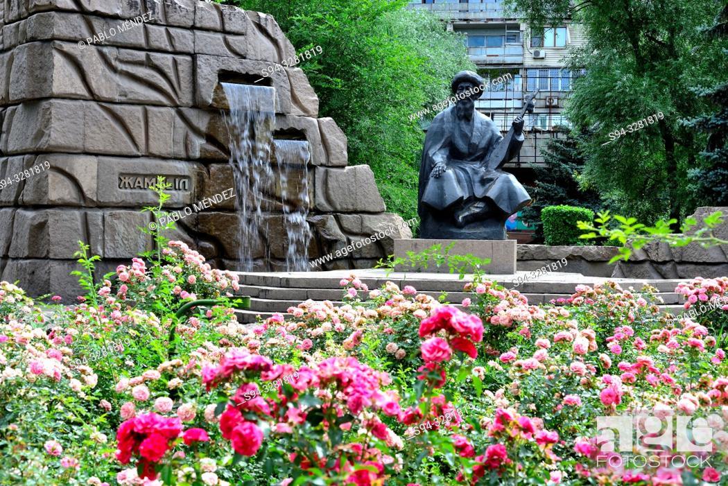 Stock Photo: Statue of ' Zhambyl ' in a park in Almaty, Kazakhstan.