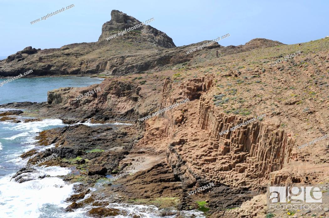 Stock Photo: Dacite prisms in Punta Baja. Cabo de Gata-Nijar Natural Park, Almeria province, Andalucia, Spain.