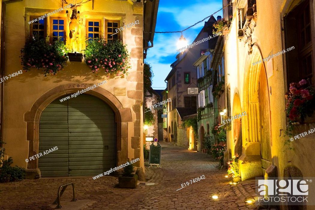 Stock Photo: Riquewihr town, Alsace, France.