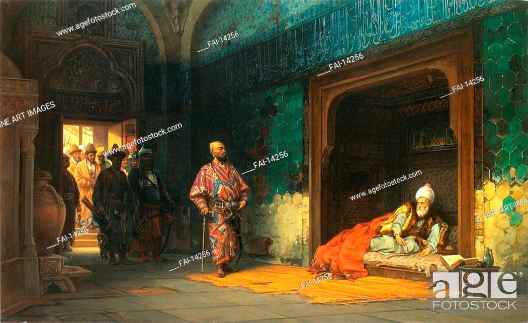 Stock Photo: Bayezid I prisoned by Timur. Khlebovsky, Stanislav (1835-1884). Oil on canvas. Orientalism. 1878. State Art Gallery, Lviv. 70x112. Painting.
