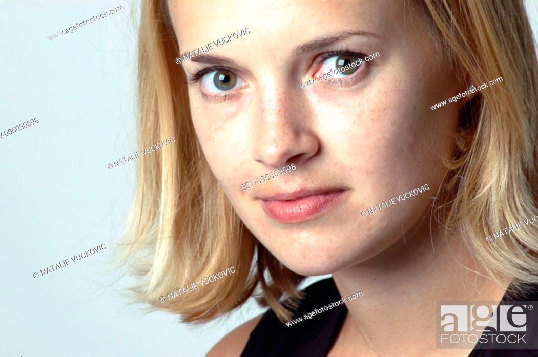 Stock Photo: Close up of blond woman.