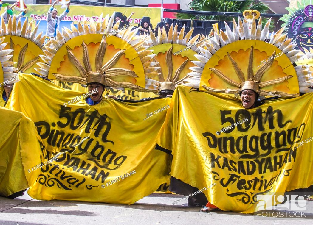 Stock Photo: Participants in the Dinagyang Festival in Iloilo Philippines.
