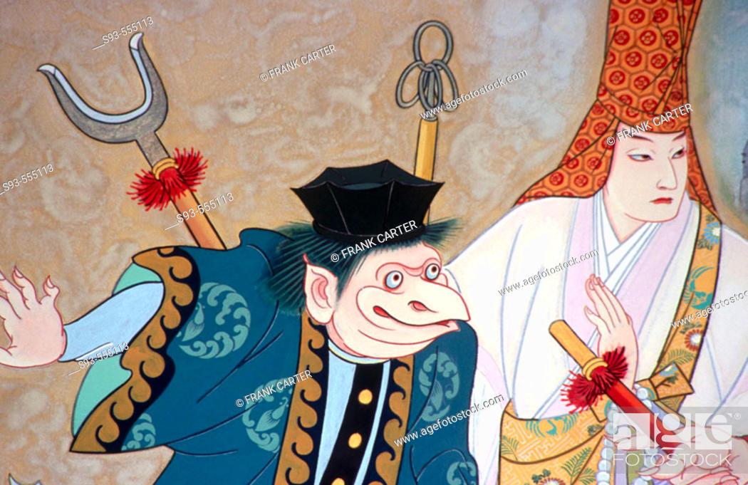 Stock Photo: Kabuki poster above the Minamiza Kabuki theater. Kyoto city. Kyoto. Japan.