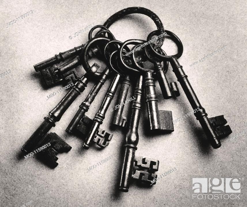 Stock Photo: Set of antique keys b&w.
