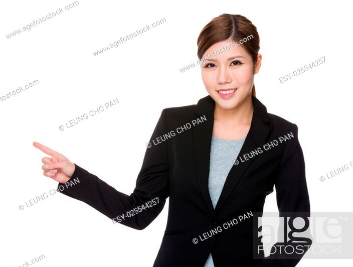 Stock Photo: Young businesswoman showing finger up.