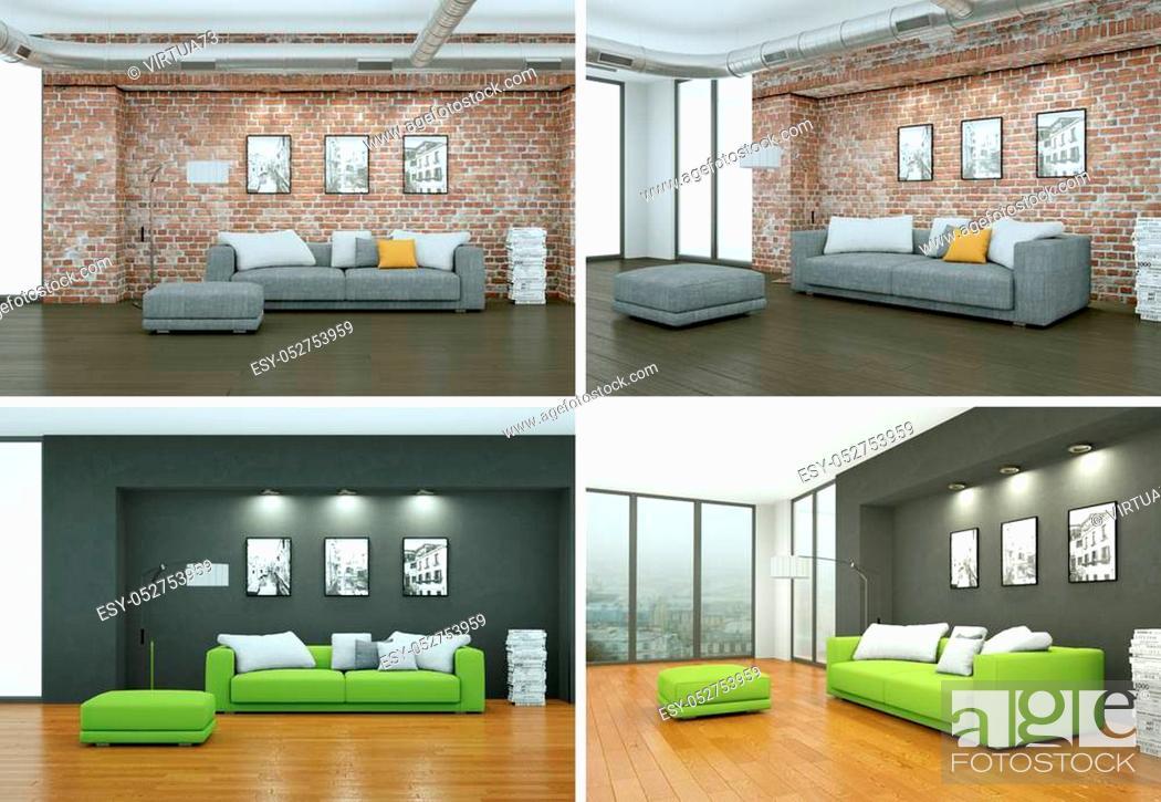 Stock Photo: Four views of modern interior loft design 3d Illustration.