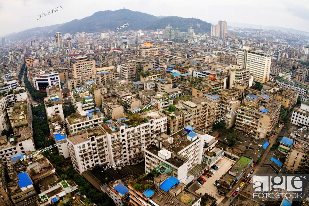 Imagen: Yibin, Sichuan province, China - The view of Yibin city, a small city is famous for it's Chinese wine, Wuliangye.