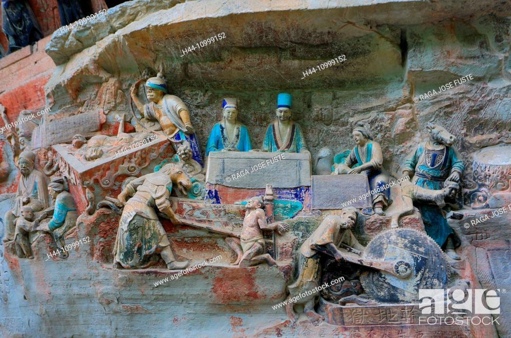 Stock Photo: China, Chongqing province, Dazu Buddhist Caves, world heritage,.