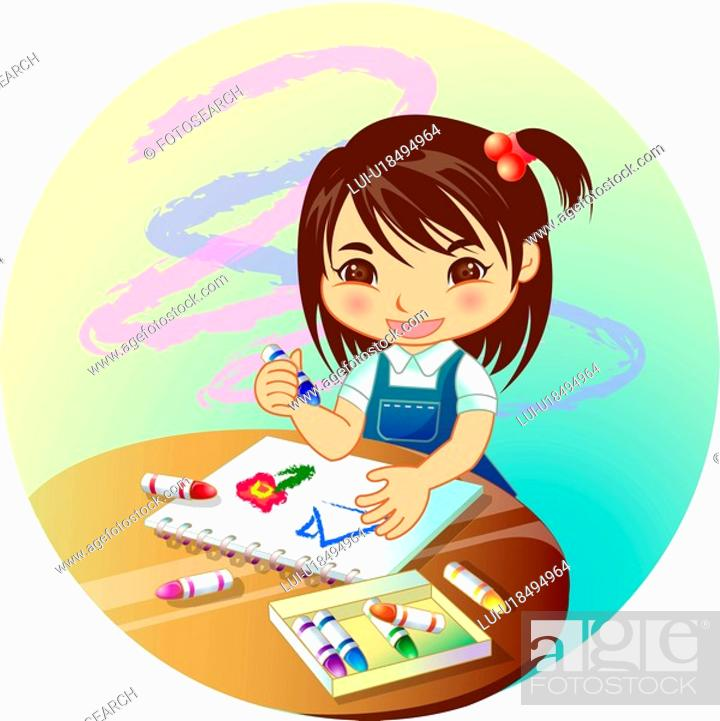 Stock Photo: holding, sketchbook, round table, pastel crayon, sketching, student.