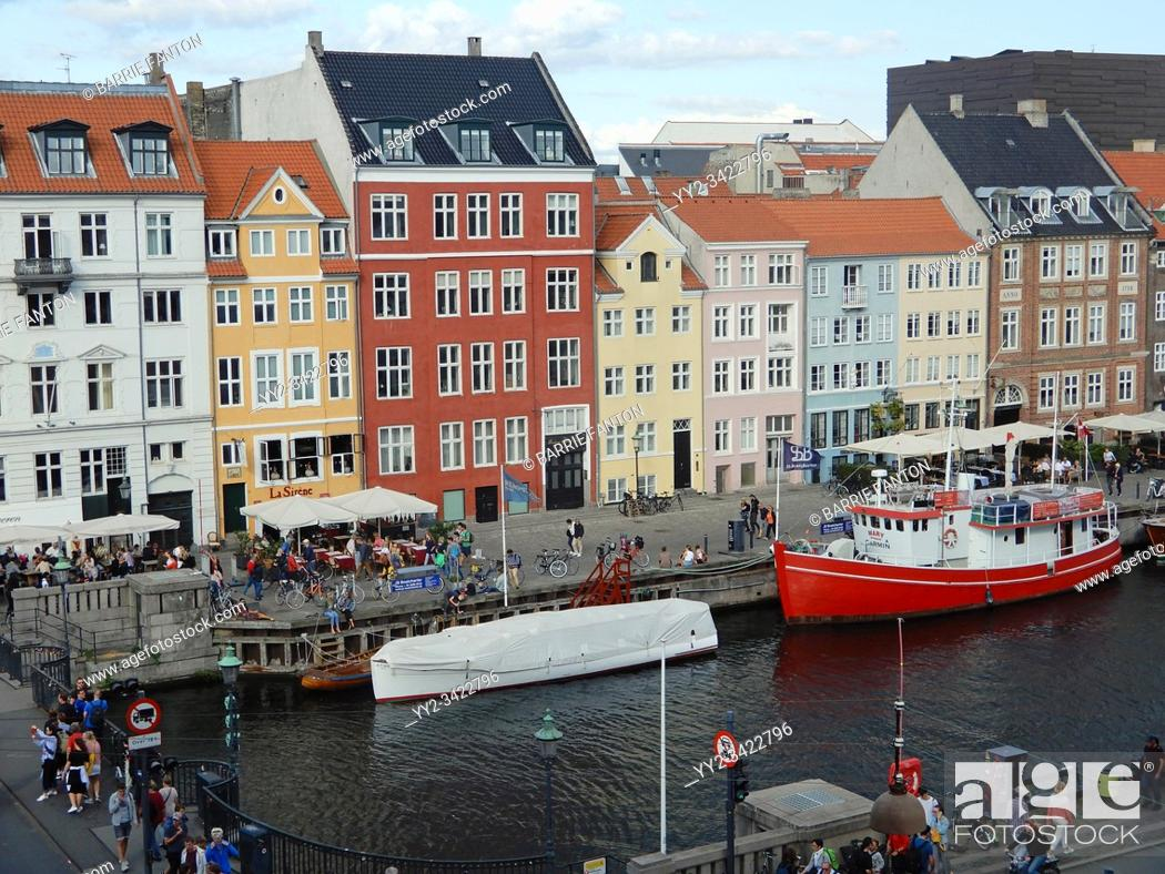 Stock Photo: Townhouses, Nyhavn Canal, Copenhagen, Denmark. . . .