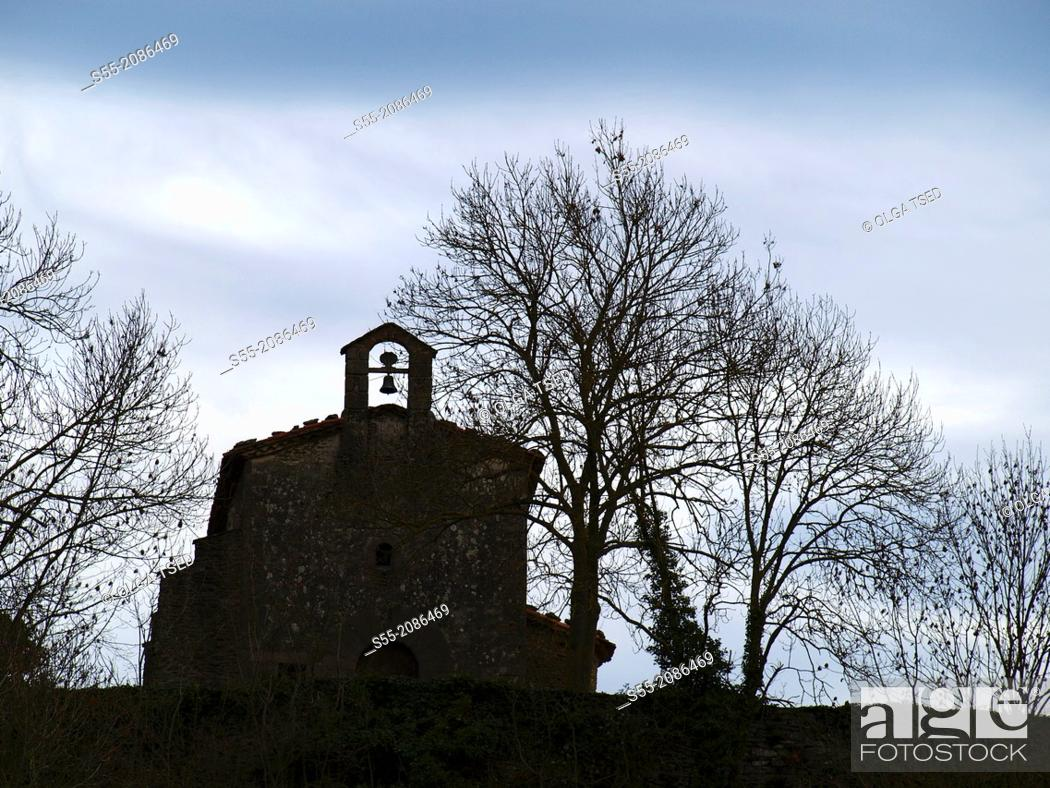 Stock Photo: Little church, Rupit, Catalonia, Spain.