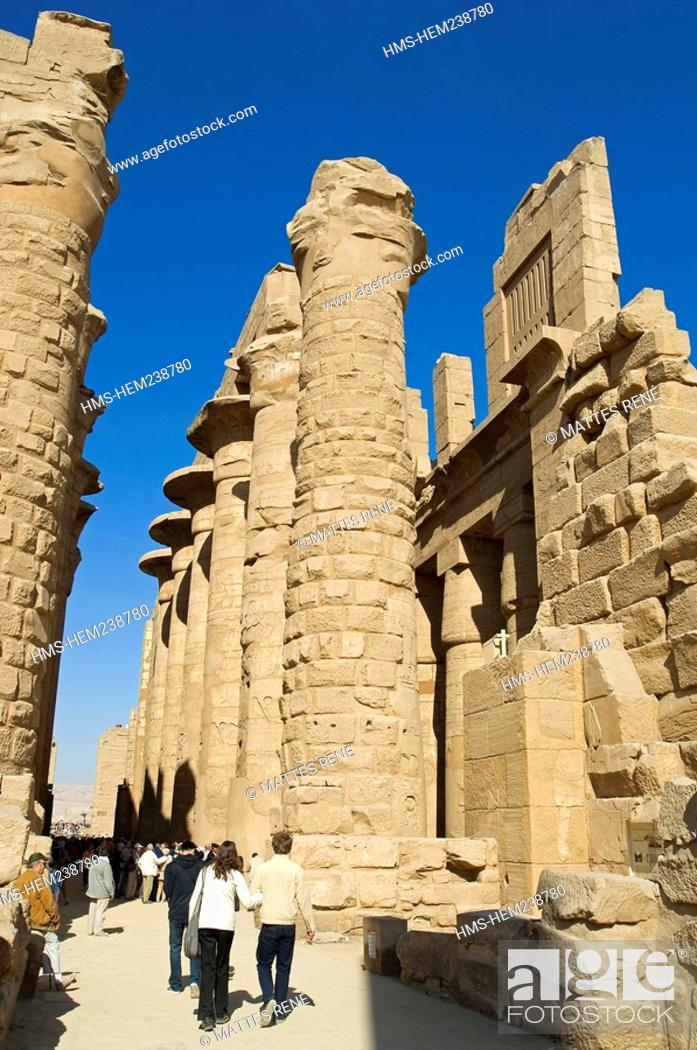 Stock Photo: Egypt, Upper Egypt, Upper Egypt, Nile Valley, Luxor, Karnak listed as World Heritage by UNESCO, temple dedicated to Amon God, hypostyle room.