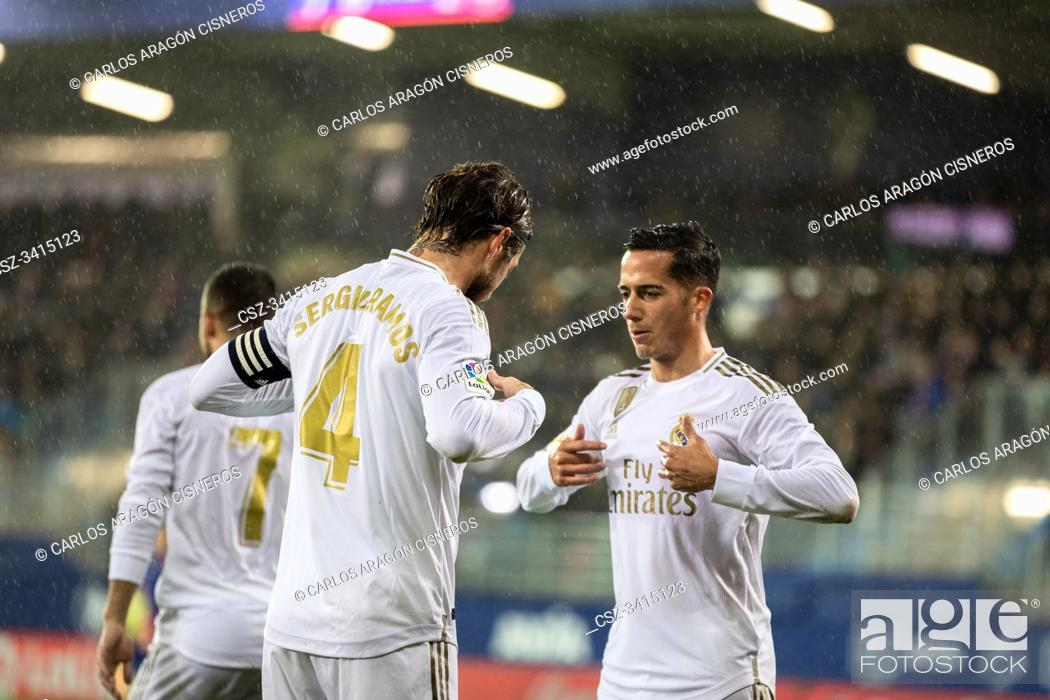 Stock Photo: EIBAR, SPAIN - NOVEMBER 9, 2019: Sergio Ramos (R) and Lucas Vazquez (L), Real Madrid players, celebrate the goal in a Spanish League match between Eibar and.