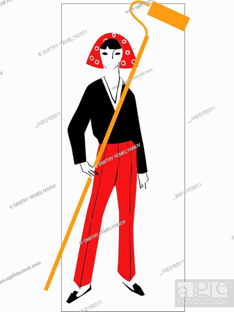 Stock Photo: A retro inspired illustration of a female interior decorator.