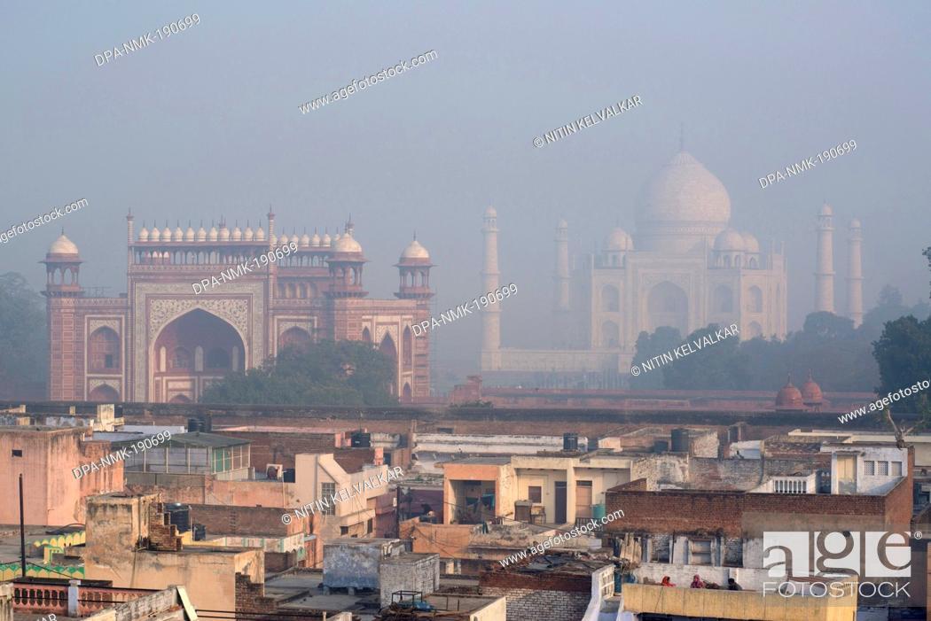 Stock Photo: taj mahal agra Uttar Pradesh India Asia.