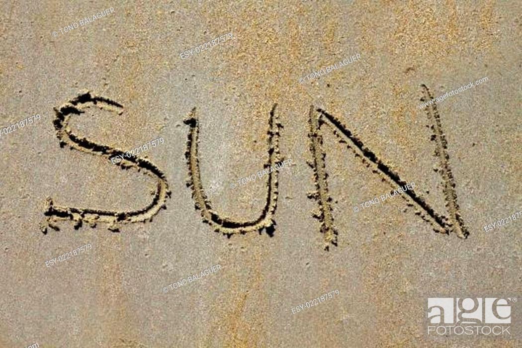 Stock Photo: word sun spell on beach wet summer sand.