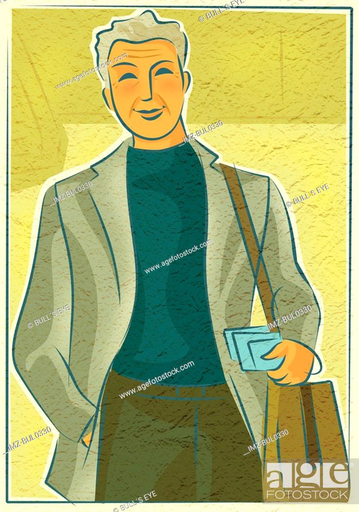 Stock Photo: An elderly man with a shoulder bag holding travel documents.