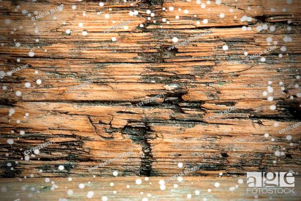 Stock Photo: Snowy Wooden Background.