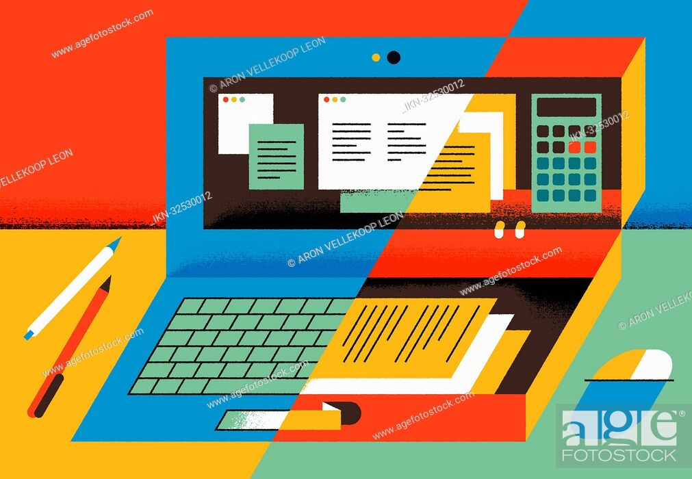 Stock Photo: Halved image with computer, documents, pencils and calculator.