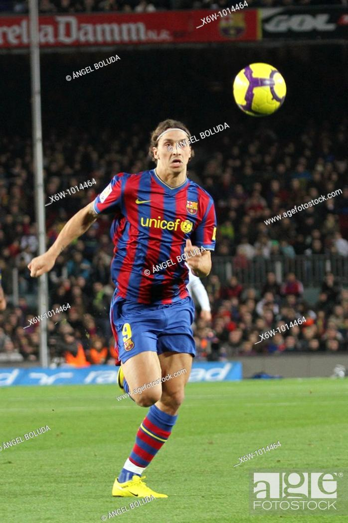 Stock Photo: Barcelona, Camp Nou Stadium, FC Barcelona, Zlatan Ibrahimovic, 2010.
