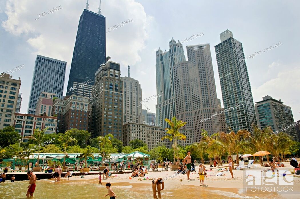 Stock Photo: Chicago's Oak St  Beach & Skyline  Gold Coast District The palm trees are shipped in each summer.