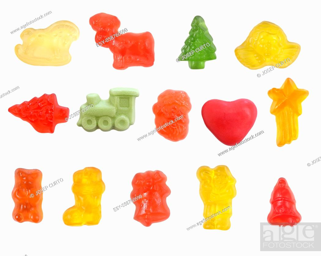 Photo de stock: group of jelly candies on white background.